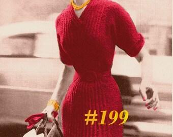 Almost FREE Vintage 1950s V-Neck Knit Dress #199 PDF Digital Knit Pattern