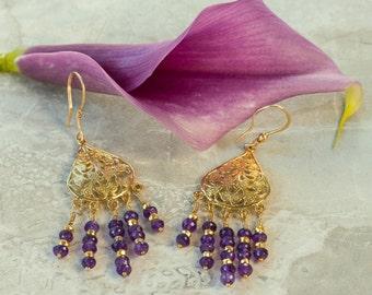 Gold Chandelier Earrings w Faceted Amethysts, Boho Earrings, 24K Vermeil 14K Gold Filled Wires, Genuine Natural Gemstones, Purple Amethyst