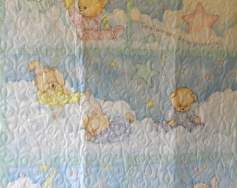 Quilt - Quilted Baby Blanket - Baby Quilt - Gender Neutral Baby Quilt for Boy or Girl - Baby Bears and Bunny Sleepy Time