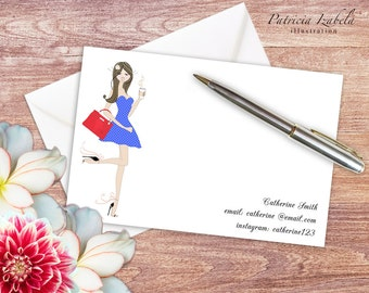 Editable & Printable NOTECARDS, address cards fashion notecards instant download notecards chic notecards girlie notecards NC01B