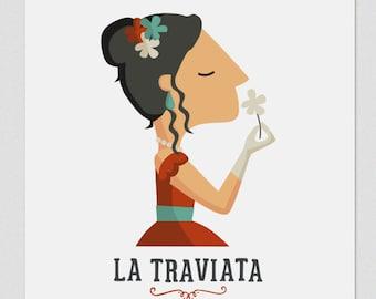 Illustration. La traviata. Print. Wall art. Art decor. Hanging wall. Printed art. Decor home. Gift idea. Bedroom. Sweet home. singer