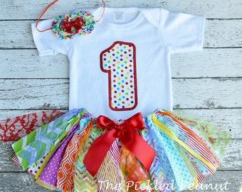 Rainbow Birthday Outfit Birthday Tutu 1st Birthday Girls Birthday Outfit Rainbow Baby Tutu Shabby Chic Birthday Fabric Tutu Baby Girl Skirt