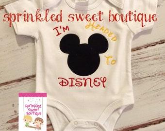 I'm Headed To Disney Custom Applique Shirt Boys Girls Mickey or Minnie Mouse First Disney Trip Vacation Family Shirts
