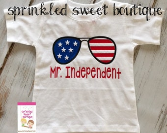 Mr Independent 4th Fourth of July Patriotic Custom America Boys Shirt