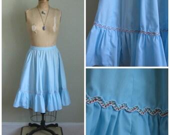 Vintage Robin's Blue Prairie Skirt// Swirl// Country
