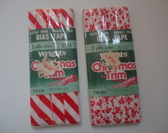 Vintage Unused Sealed Wright's Christmas Trim 2 Packages of Wright Christmas Double Fold Tape Santa Trim Red White Stripped Trim