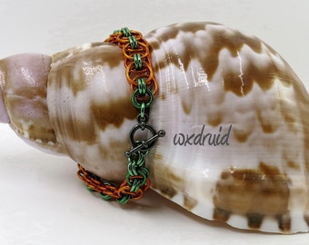 Chainmaille Bracelet, Handmade Green and Orange Helm Weave Chainmail Bracelet, Anodized Aluminum Chainmaille Jewelry
