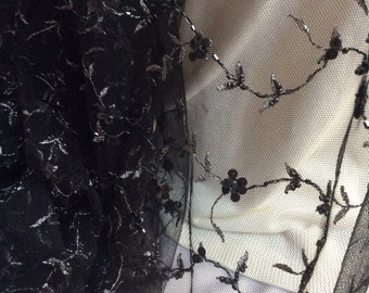 Liquidation Black Lace, Black with Silver Tulle, Black Sequins C12-102