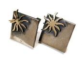 Early 50s Sterling Silver 14k Gold Cufflinks, Jacob Oldak Cufflinks, Modernist Cufflinks, 1950s Cuff Links, Heavy Cufflinks,