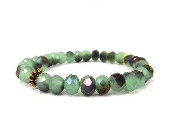 SALE Green + Purple Glass Bracelet