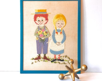 Vintage Needlepoint Wall Hanging • Completed • Framed