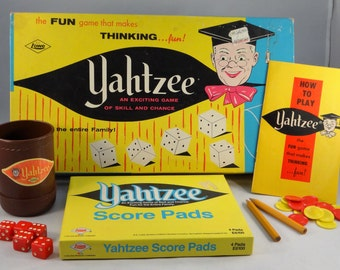 Yahtzee Game by Lowe, 1970's Vintage Dice Game