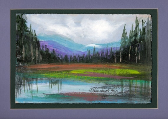 Watercolor Painting Pond and Mountain Scene by Anna Sandhu Ray