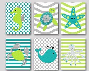 Bathroom Wall Decor Whale Crab Octopus Baby Boy Nursery Art Nursery Wall Art Baby Nursery Kids Room Decor set of 6 Gray Green Navy