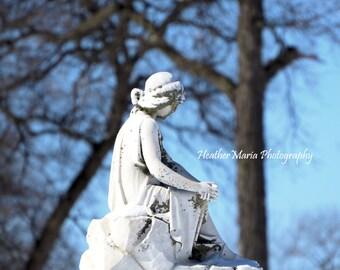 Woman goddess angel statue, historic cemetery, Milwaukee, WI, fine art photography