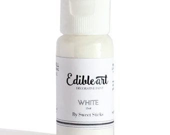 White 15ml- Edible Art Paint by Sweet Sticks for cake, cookie, & confectionery decorating
