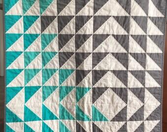 Modern patchwork geometric triangle quilt teal grey white quilt  boy girl  gender neutral baby toddler quilt blanket