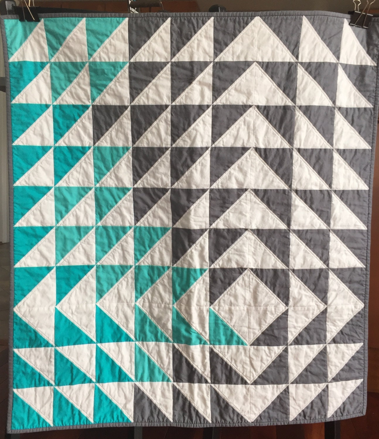 Modern Patchwork Geometric Triangle Quilt Teal Grey White