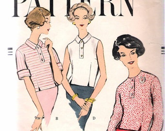 """Vintage 1958 Vogue 9440 Blouse in Three Versions Sewing Pattern Size 14 Bust 34"""""""