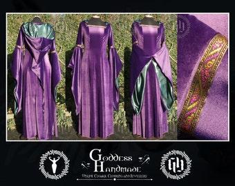 Velvet Medieval Fantasy Gown with long Pixie Hood, Handfasting, Renaissance, LARP, Elven OOAK
