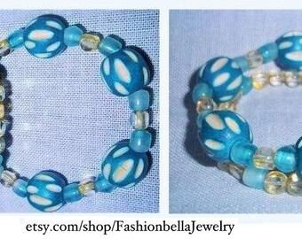 Aqua wood and glass beads bracelet set