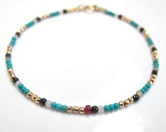 14k solid gold diamond cut beads turquoise saphhire white yellow rose gold bracelet natural gemstone multi color handmade