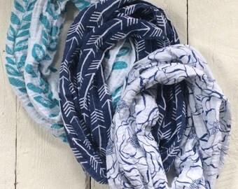 SALE Women's Gauze Infinity Scarves