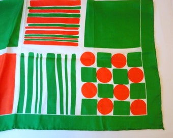 Vintage Green Red Scarf Geometric Square 1960s Spring scarf Gift under 10