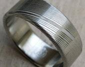 "Stainless steel Damascus ""WOODGRAIN"" Customizable ring!"