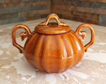 Soup tureen - small pumpkin tureen with handles and lid - handled sauce tureen - handled soup tureen - soup bowl - sauce bowl