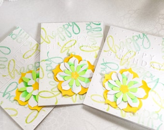 3- Handmade cards: Sunny cards - Yellow flowers - sunshine -birthday cards - tiles - Wcards