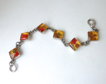 Vintage 1970's Sterling Silver Real Dried Flowers In Lucite Square Link Bracelet