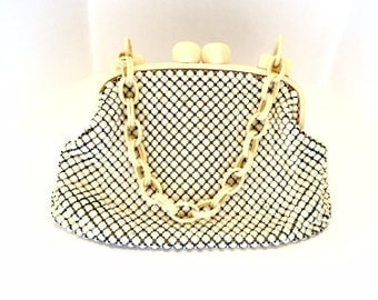 Art Deco Alumesh Ivory Cream Whiting Davis Purse Chainmail Chainmaille Enamel Celluloid Kisslock Handbag