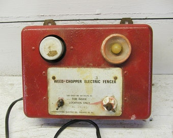 Industrial Electric Fence Charger Controller Steampunk Old Red Paint