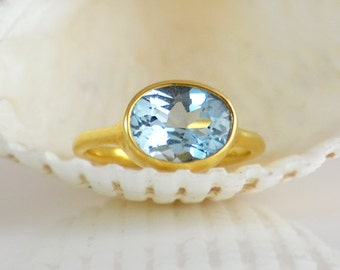 London Blue Topaz Ring - December Birthstone Ring - Gemstone Ring - Stacking Ring - Gold Ring - Oval Ring - Bezel set ring size 5 6 7 8 9