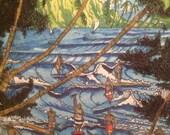 "Surf Art, ""Board Meeting"" by Alan Casagrande Watercolor"
