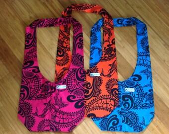 LOCAL DESIGN Handbag, Hobo Purse, Tropical Tribal Deign, Made in Hawaii US, New Old Stock