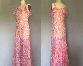 1930s Sheer Cotton Voile Pink Poppy Flutter Dress - Floral Summer 30s Long Maxi Ruffle Dress - S