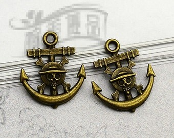 20pcs 19mm x 22mm Anchor Charms Antique Bronze Tone Skull 2 Sided - BC0422