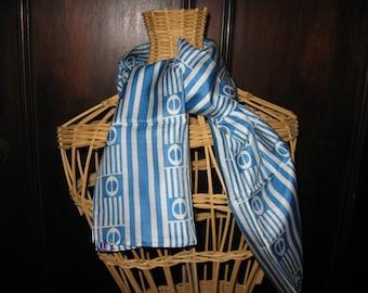 "Ray Strauss silk scarf blue & white USA 44"" x 10.5"""