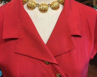 Vintage red Chanel silk linen pleated drop waist market dress with gold tone CC buttons 38