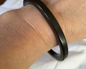 Black Goth Bangle Vintage Slim Spacer Black Bakelite? Plastic Lucite Bangle Bracelet Stack or Wear by Itself!