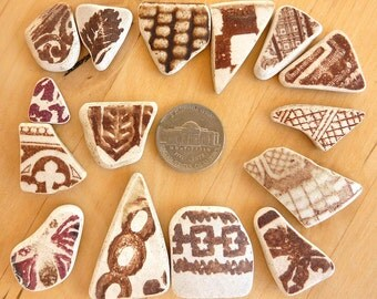 15 Brown Patterned BEACH SEA POTTERY Shards Antique Scottish