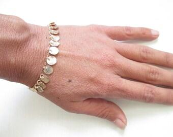Gold bracelet, gold disc bracelet, modern jewelry, simple, ethnic gold jewelry