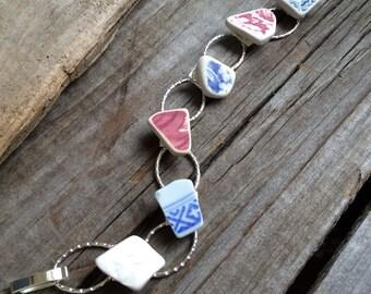Broken pottery Bracelet, vintage china bracelet, broken china bracelet, Beach Pottery Bracelet, Broken China Jewelry, vintage china Bracelet