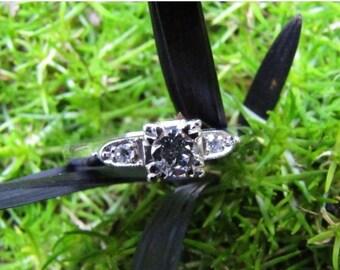 DEADsy LAST GASP SALE Vs Diamond Platinum Engagement Ring, Vintage Engagement or Wedding Band, Three Stone Modern Design