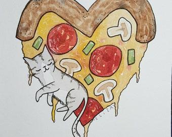 Pizza Dreams Watercolor Print/ Kitty cat kitten pizza lover love portrait custom illustration drawing by Eliza George