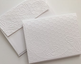 Greeting Cards, Note Cards, Embossed Cards, Blank Cards, Note Card Set, White Cards, Note Cards Set, Thank You Cards, Bees