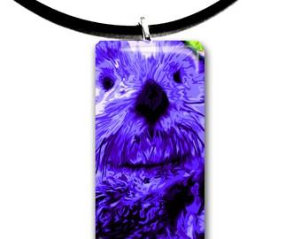 purple, Sea Otter pendant, hand painted unique artwork, Adorable Otter, Glass tile penant, bright purple