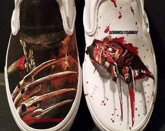 Freddy Krueger Nightmare On Elm Street Custom Painted Classic Horror Movies Vans Converse Toms shoes.  Bloody Fantastic!